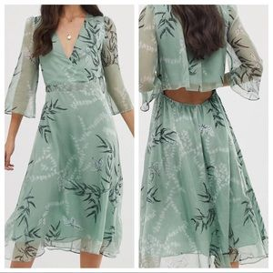 Leaf printed midi dress